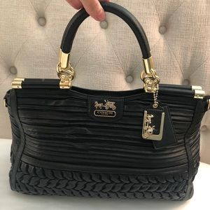 Black Coach Madison Leather Carrie Purse